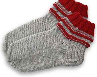 Socks slippers hand knitted, wool socks, warm socks, gift socks, knitted socks, winter socks, grey slippers, grey socks, red socks
