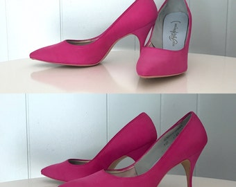 1950s Miles Fifth Avenue Fashions Pink High Heels   50s Hot Pink Pointed Toe Stiletto Pumps   Vintage Retro Bright Pink Womens Party Shoes