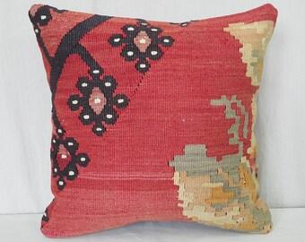 """16""""×16""""İnches, Kilim Pillow, Cushion Cover, Throw Pillow, Decorative Pillow, Decorative Kilim Pillow, Pillow Cover, Throw Pillow, Bohemian"""