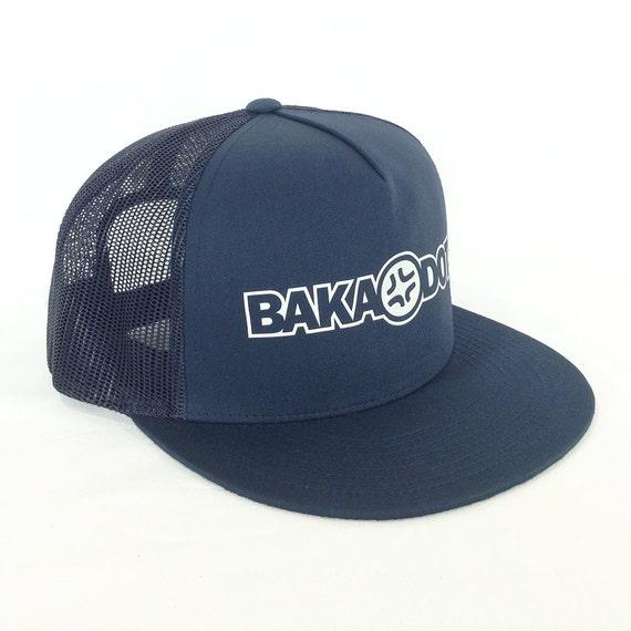 Baka Dots Text Logo, Angry Anime, Anime Style, Navy Blue Trucker Hat, Adjustable cap, Anime Fan Gear, Geekery gift, Otaku Gift, Baka Dots