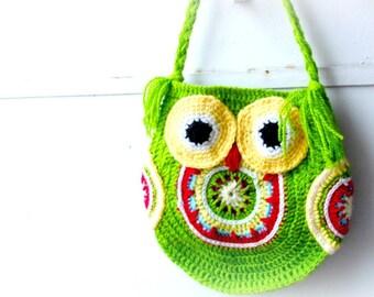 funky owl crochet bag