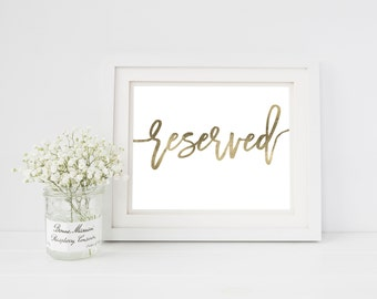 Wedding Sign Template   Reserved Sign   Wedding Sign   Printable Wedding Sign   5x7 & 8x10   EDN 5452