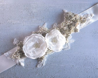 Beaded Lace Bridal Sash
