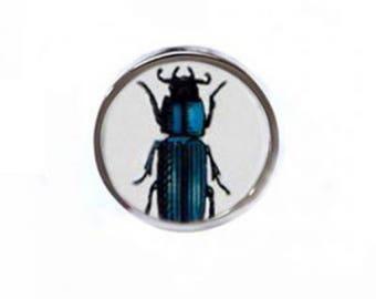 Indigo Stag Beetle Silver Statement Ring (Luxury Gift, Ethical jewellery, Bespoke, Vintage China, Boho Style, Broken China Jewellery)