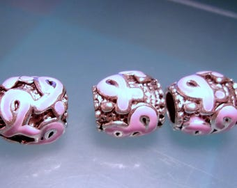 Breast Cancer Awareness Euro Style Metal Beads-European Metal Bead Charms-Large Hole Beads-Enamel Metal Bead Charms-Pink European Beads-2