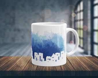 Night City Coffee Mug, City Mug, Ceramic Mug, White Coffee Mug, Unique Coffee Mug, Glossy Coffee Mug, Coffee Cup, 11 oz mug