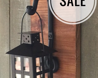 Black Tea Light Candle Lantern Wall Sconce on Wood with Curled Black Hook