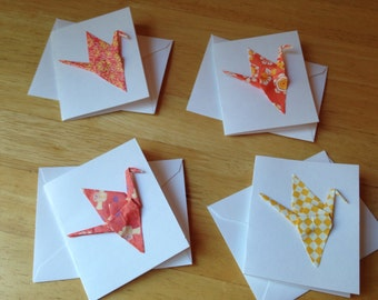 Set of four tiny origami crane greeting cards
