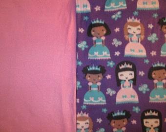 Fleece Tie Blanket-Princesses and Light Pink Glitter, small