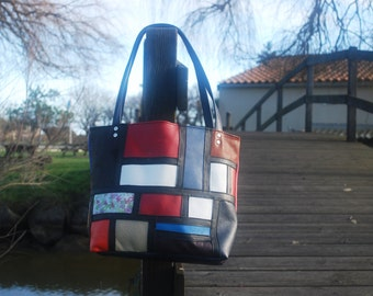 Bag style Mondrian leather