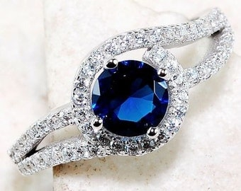 Blue Sapphire & White Topaz Ring set in Sterling Silver! DAZZLING!