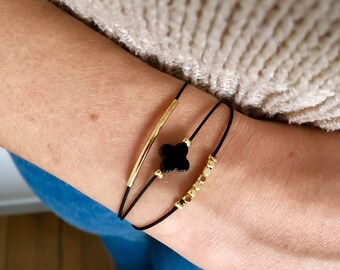 New 3 in 1 bracelet with goldplated pearls we black cord / new bracelet 3 in 1 with beads plated gold on black cord
