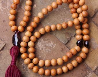 108 Mala Bead Energising Garnet and Sandalwood Mala Bead  - Necklace with tassel, 108 Beads , Yoga Jewellery, mala bead, January Birthstone