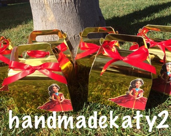 Elena & Skylar of Avalor Goody box for  Candy  or Favor box set of 12 metallic gold and orange.