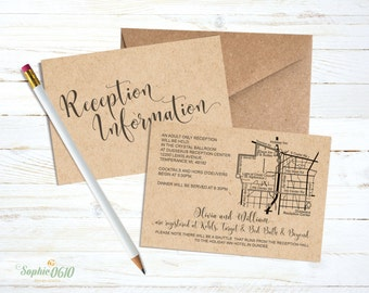 Printable wedding reception card with custom map, Digital wedding map card, Wedding road direction card