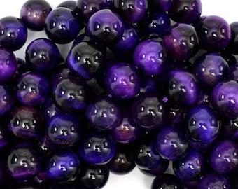 "10mm purple tiger eye round beads 15.5"" strand 38896"