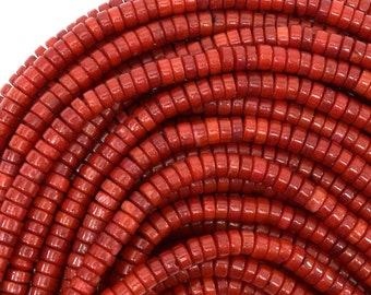 """4mm red coral heishi beads 16"""" strand 39091"""