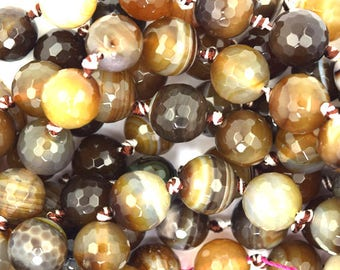 """12mm faceted agate round beads 7"""" strand brown12pcs 37355"""