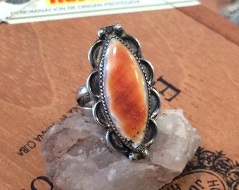 Doris Lee ring, vintage Indian ring, signed Navajo ring, Spiny oyster ring