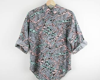 Vintage 80s Shirt / Pastel Abstract Giraffe Tropical Jungle Print Button Down Top / Medium M Large L