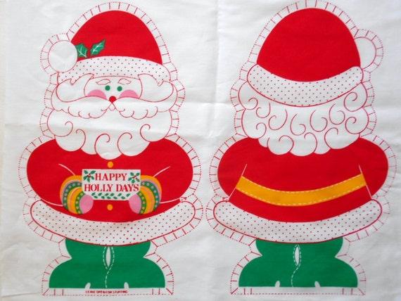 Vintage DIY Christmas Santa Claus Pillows Craft Fabric Christmas Sewing Material  Set of 2 Small and Large Pillows Christmas Holiday Decor