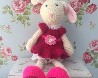 Bella Bunny Handmade Crochet Rabbit with Carrot / Amigurumi - Tilda Style