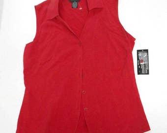 VINTAGE 90s City Silk red 100% silk womens button down shirt vest sleeveless blouse top size 10 modern fashion