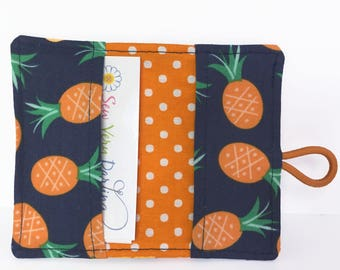 Card Wallet - Card Holder - Pineapples - Fabric Card Holder - Card Holder Wallet - Business Card Holder - Credit Card Holder