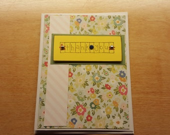 Handmade Thank You Card - Colorful, Floral design