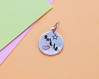 Smile Charm, Bracelet Charm, Bangle, Handmade, Heart, Handstamped, Charm, Ready to Ship, Gift for Her