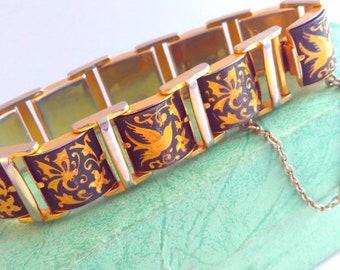 Vintage, Damascene, birds, Japanese, bracelet, vintage bracelet, bird bracelet, vintage Damascene bracelet, Damascene bracelet, bracelet