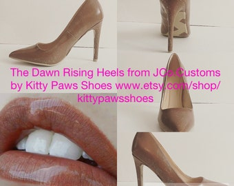 Women's Brown Tan Beige Classic Fun Modern Handpainted Feminine Pointy Toed Heels from JCo.Customs by Kitty Paws Shoes