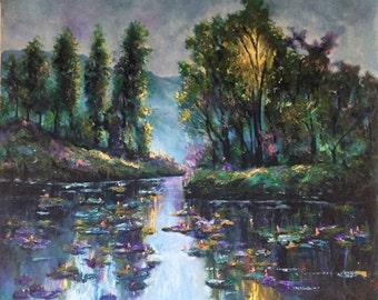 thai lotus pond oil painting