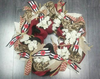 Red tan black and white burlap wreath