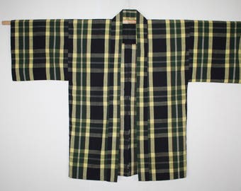 Japanese vintage cotton noragi  Farmclothes hanten jacket of Check pattern