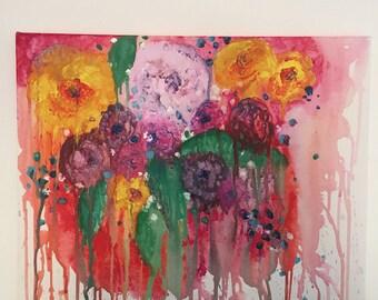 Original floral art - one of a kind