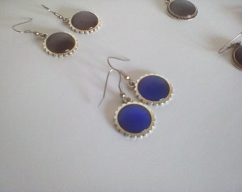Pink cat eye earrings blue night