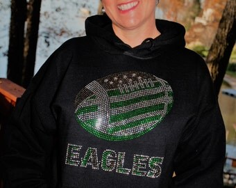 Eagles  rhinestone bling hooded sweatshirt, hoodie,  all sizes,   S, M, L, XL, XXL, 3X, 4X, 5X