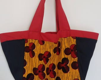Tote bag size adaptable, wax and Red cotton