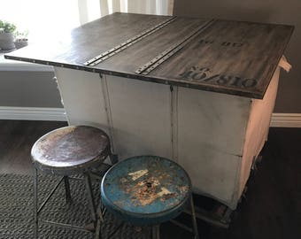 Vintage laundry cart bar, industrial storage table, custom made storage unit