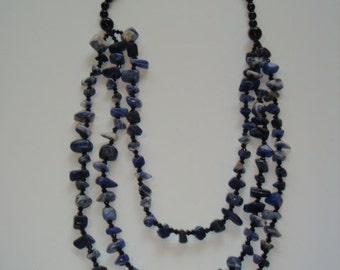 Sodalite Beaded 3 Strand Necklace