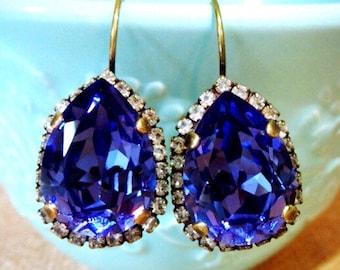 SALE Purple Swarovski Crystal, Pear Shaped Brass Earrings, Tanzanite Crystal, Swarovski Tanzanite, Purple Earrings, bridesmaid earrings