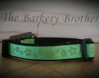 Handcrafted Dog Collar / Longer Length / Lime Green