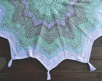 White, Gray and Mint Starbust Afghan (Pre-made, Ready to ship!)