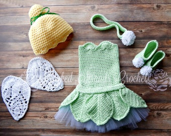 Faerie costume, Pixie outfit, Crochet dress, Fairy outfit, Faerie Dress, Baby photo prop, Little girls costume, 0-18 Month, Full costume set