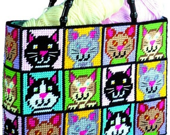 Sale! CAT TOTE BAG - Purse - Craft Bag! Plastic Canvas Kit - Project / Embroidery / Kitten - Kitty