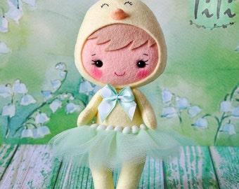Felt chicken doll, Cute girl costume chicken, Easter chicken decoration ornament, Handmade Felt Doll, Decorative chicken doll
