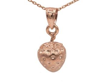 14k Rose Gold Strawberry Necklace