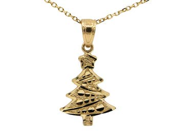 14k Yellow Gold Christmas Tree Necklace