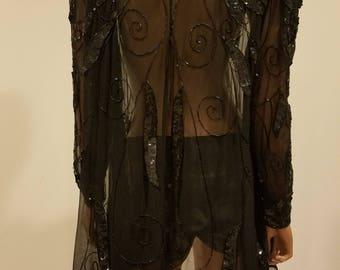 Vintage 100% silk sheer sequin beaded jacket black